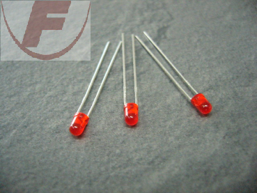 LED bedrahtet 3mm Rot 2,5V 2mA 60°RUND rot diffus 625nm