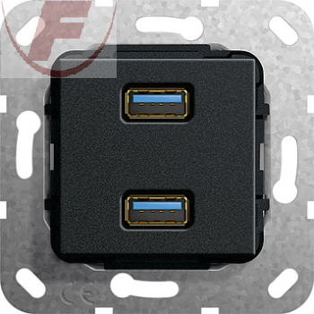 Gira USB 3.0 A 2fach sw matt Gender Changer 568410